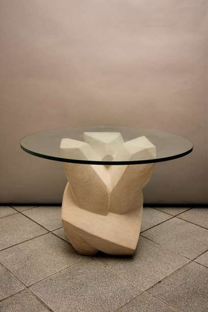 Sculpted Table with glass top